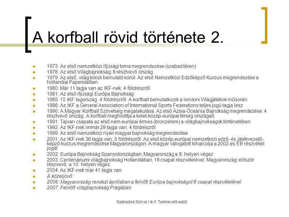 Szabados Szilvia I.évf. Testnevelő-edző A korfball rövid története 2. 1973: Az első nemzetközi ifjúsági torna megrendezése (szabad téren) 1978: Az els