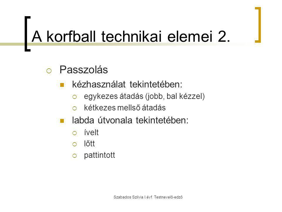 Szabados Szilvia I.évf. Testnevelő-edző A korfball technikai elemei 2.  Passzolás kézhasználat tekintetében:  egykezes átadás (jobb, bal kézzel)  k