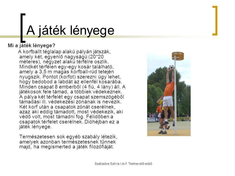 Szabados Szilvia I.évf. Testnevelő-edző A játék lényege Mi a játék lényege? A korfballt téglalap alakú pályán játszák, amely két, egyenlő nagyságú (20