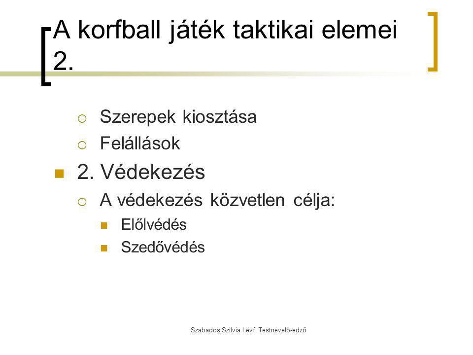 Szabados Szilvia I.évf. Testnevelő-edző A korfball játék taktikai elemei 2.  Szerepek kiosztása  Felállások 2. Védekezés  A védekezés közvetlen cél