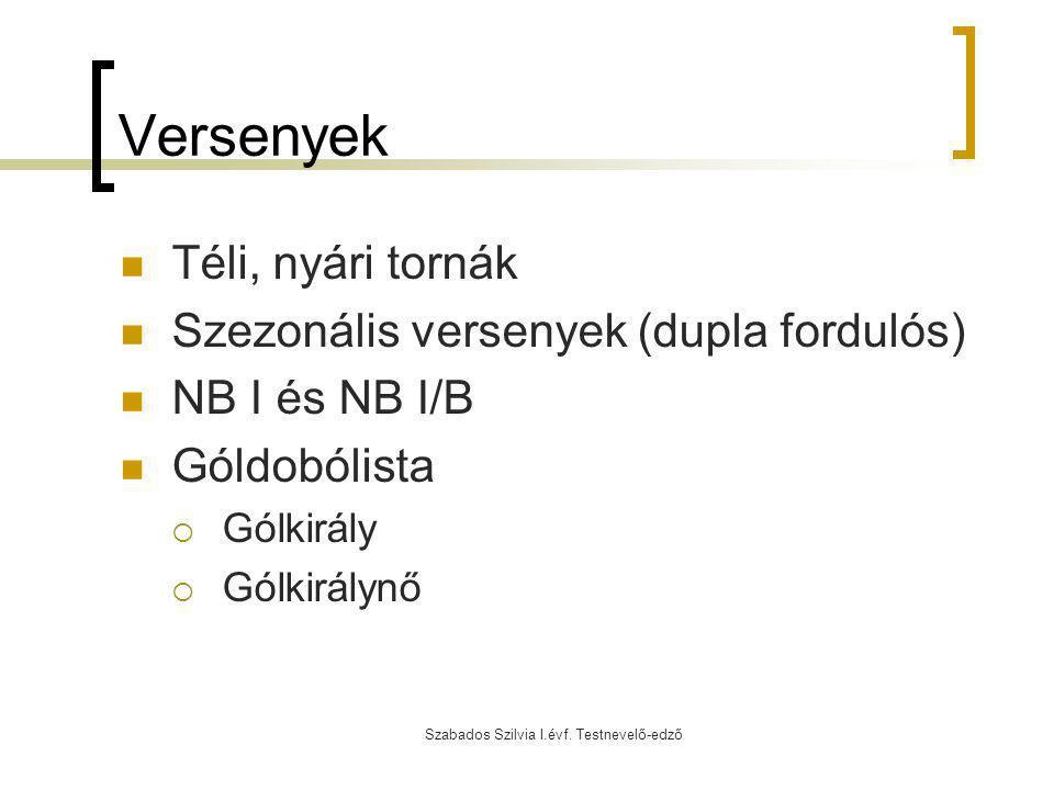 Szabados Szilvia I.évf. Testnevelő-edző Versenyek Téli, nyári tornák Szezonális versenyek (dupla fordulós) NB I és NB I/B Góldobólista  Gólkirály  G