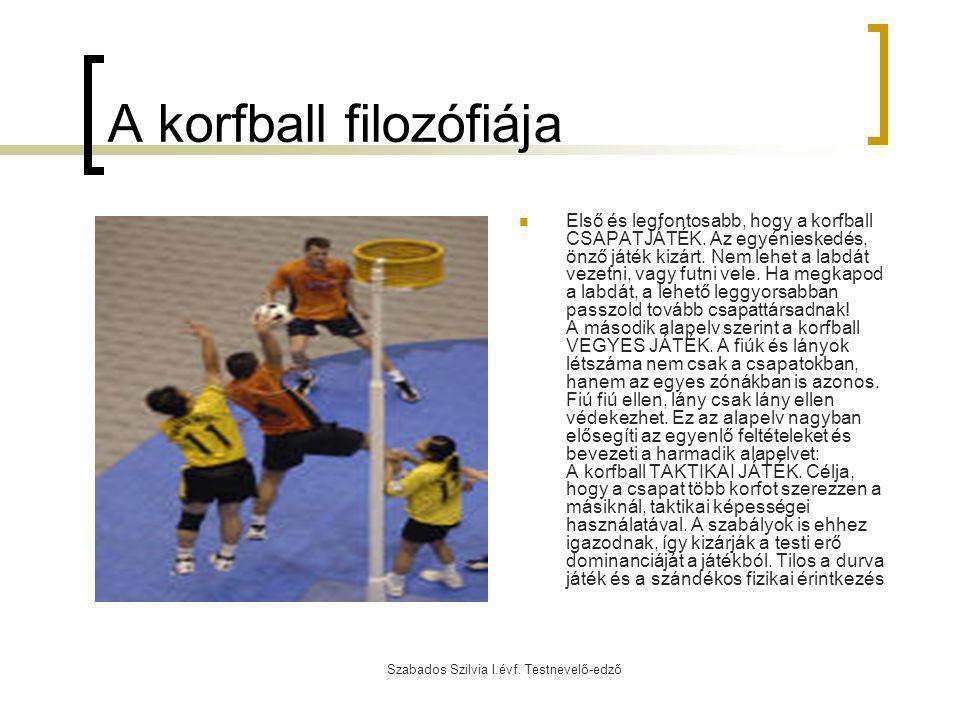Szabados Szilvia I.évf. Testnevelő-edző A korfball filozófiája Első és legfontosabb, hogy a korfball CSAPATJÁTÉK. Az egyénieskedés, önző játék kizárt.