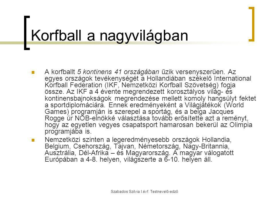 Szabados Szilvia I.évf. Testnevelő-edző Korfball a nagyvilágban A korfballt 5 kontinens 41 országában űzik versenyszerűen. Az egyes országok tevékenys