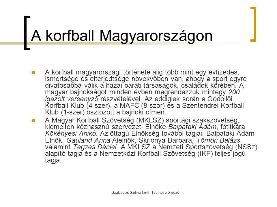 Szabados Szilvia I.évf. Testnevelő-edző A korfball Magyarországon A korfball magyarországi története alig több mint egy évtizedes, ismertsége és elter