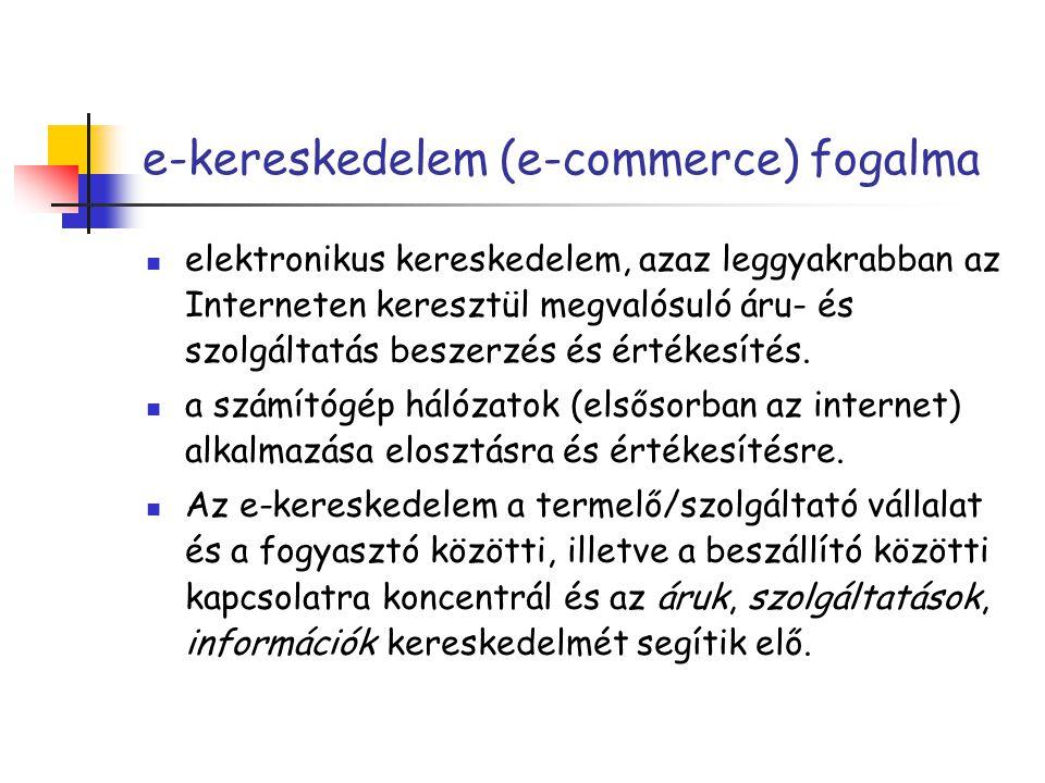 e-kereskedelem (e-commerce) fogalma elektronikus kereskedelem, azaz leggyakrabban az Interneten keresztül megvalósuló áru- és szolgáltatás beszerzés és értékesítés.
