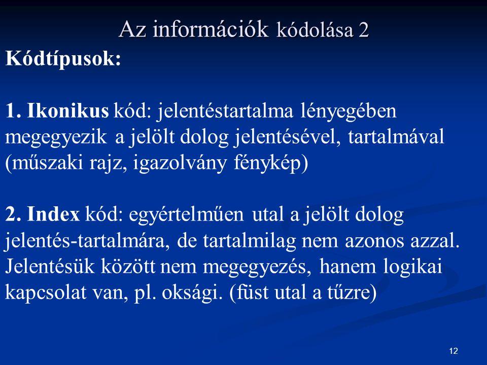 12 Az információk kódolása 2 Kódtípusok: 1. Ikonikus kód: jelentéstartalma lényegében megegyezik a jelölt dolog jelentésével, tartalmával (műszaki raj