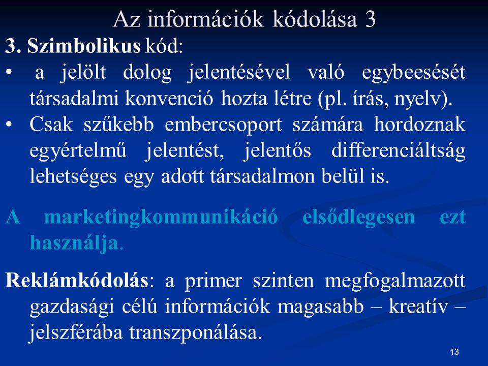 13 3. Szimbolikus kód: a jelölt dolog jelentésével való egybeesését társadalmi konvenció hozta létre (pl. írás, nyelv). Csak szűkebb embercsoport szám