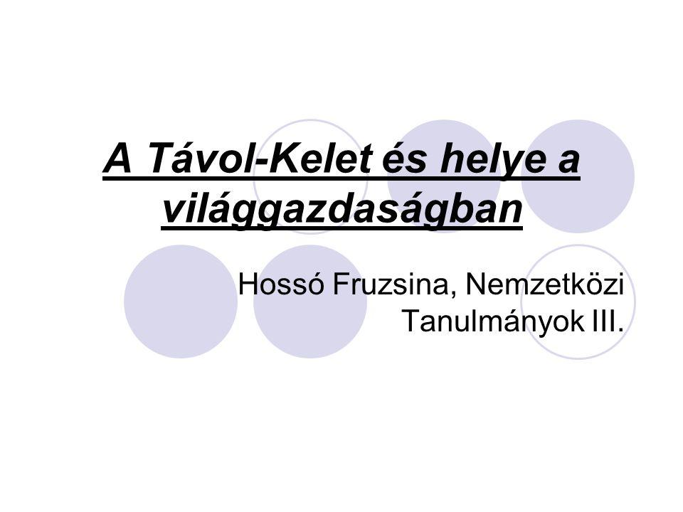A Távol-Kelet és helye a világgazdaságban Hossó Fruzsina, Nemzetközi Tanulmányok III.