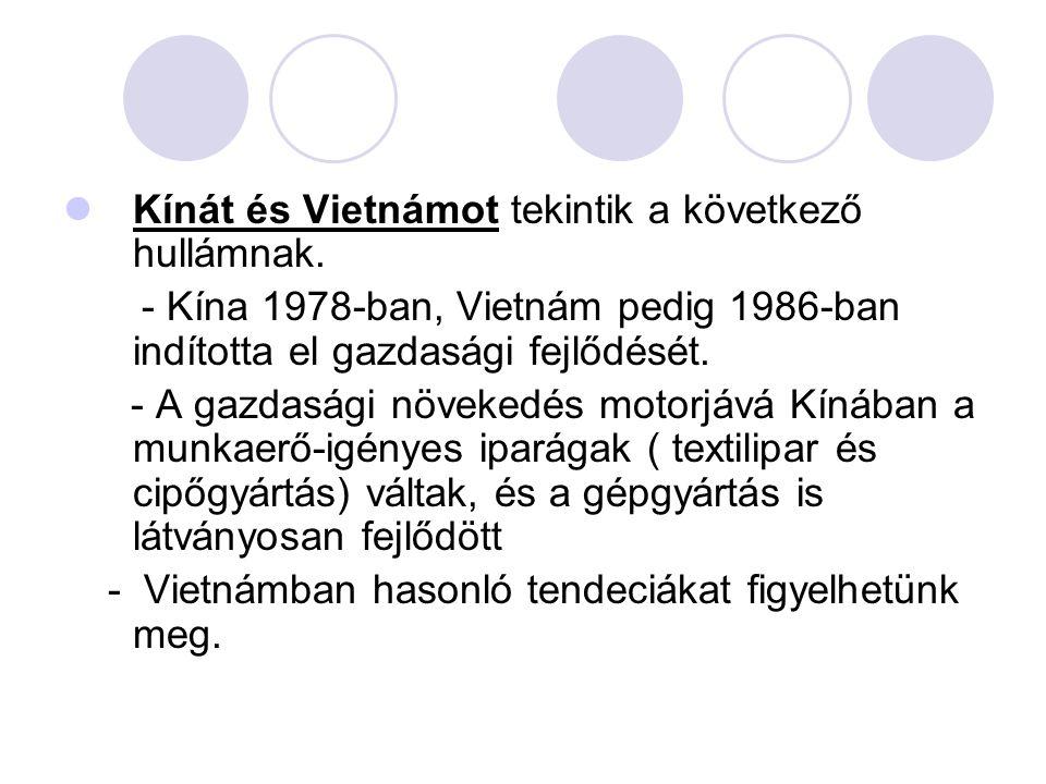 Kínát és Vietnámot tekintik a következő hullámnak. - Kína 1978-ban, Vietnám pedig 1986-ban indította el gazdasági fejlődését. - A gazdasági növekedés