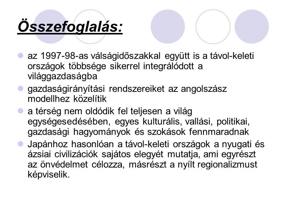 Összefoglalás: az 1997-98-as válságidőszakkal együtt is a távol-keleti országok többsége sikerrel integrálódott a világgazdaságba gazdaságirányítási r