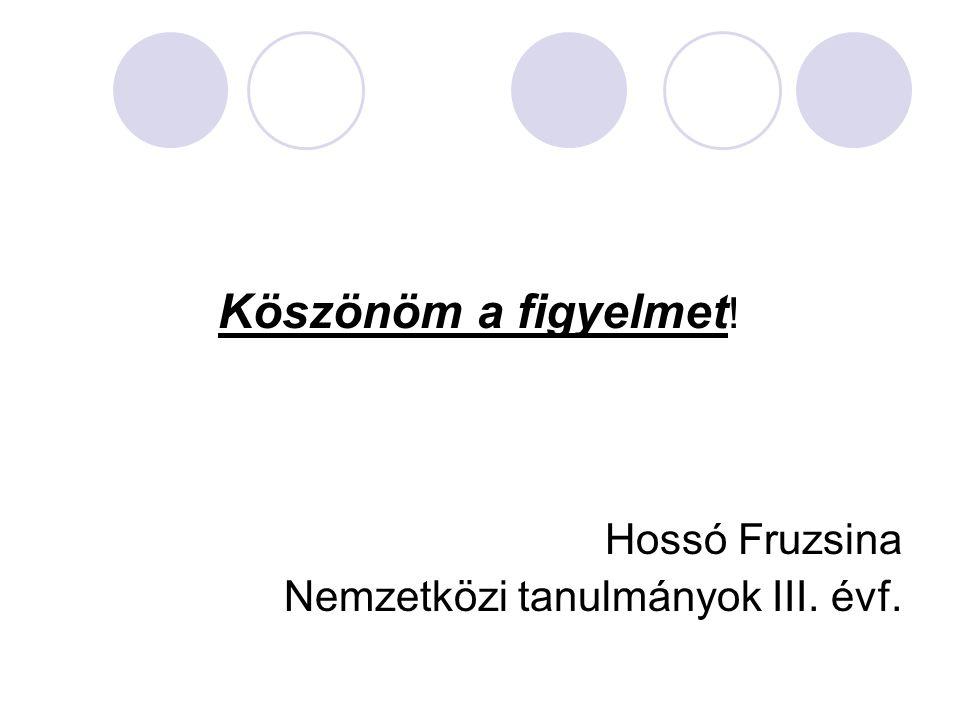 Köszönöm a figyelmet ! Hossó Fruzsina Nemzetközi tanulmányok III. évf.