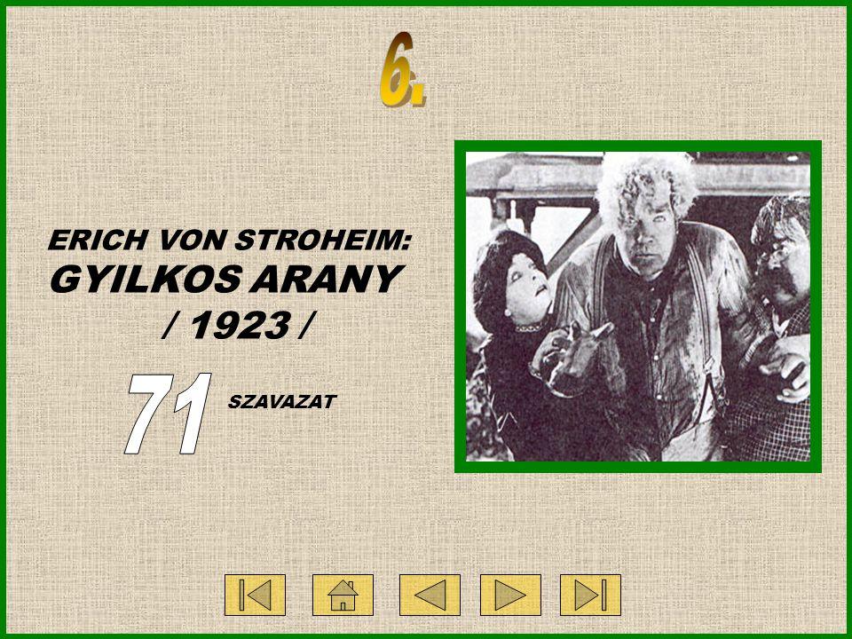 ERICH VON STROHEIM: GYILKOS ARANY / 1923 / SZAVAZAT