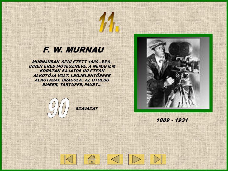 F. W. MURNAU MURNAUBAN SZÜLETETT 1889 – BEN, INNEN ERED MŰVÉSZNEVE. A NÉMAFILM KORSZAK SAJÁTOS IHLETÉSŰ ALKOTÓJA VOLT. LEGJELENTŐSEBB ALKOTÁSAI: DRACU