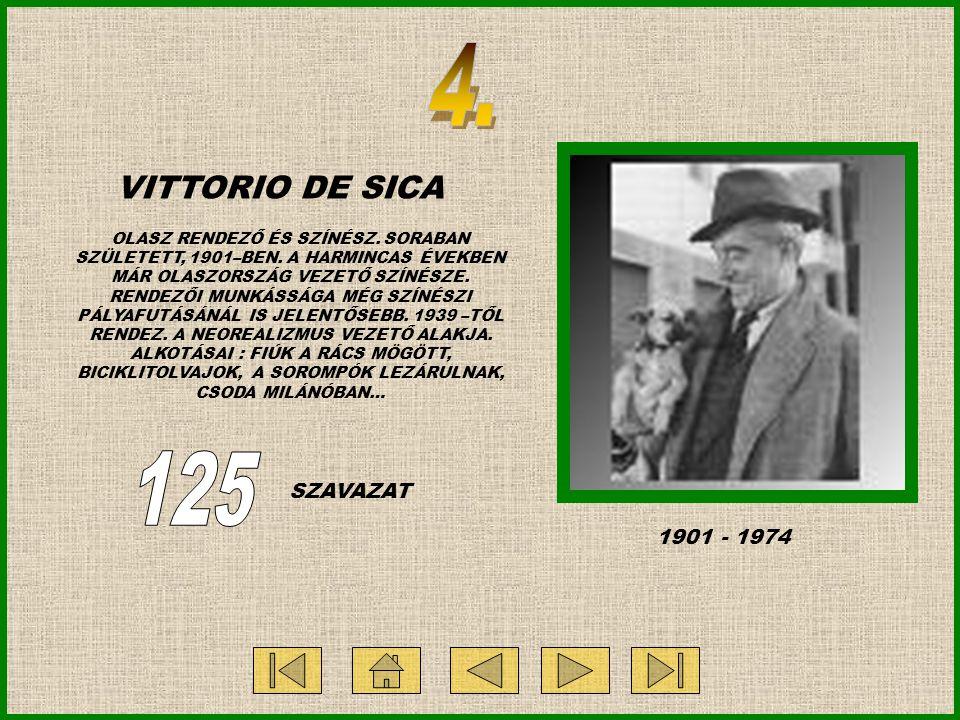 VITTORIO DE SICA OLASZ RENDEZŐ ÉS SZÍNÉSZ. SORABAN SZÜLETETT, 1901–BEN.