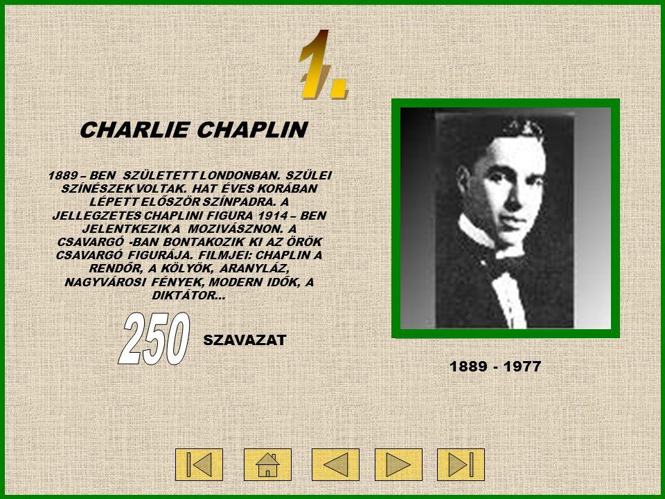 CHARLIE CHAPLIN 1889 – BEN SZÜLETETT LONDONBAN. SZÜLEI SZÍNÉSZEK VOLTAK. HAT ÉVES KORÁBAN LÉPETT ELŐSZÖR SZÍNPADRA. A JELLEGZETES CHAPLINI FIGURA 1914