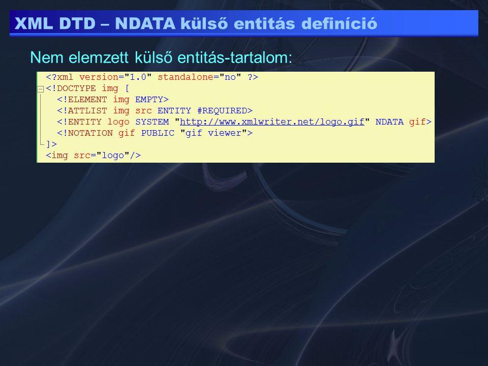 XML DTD – NDATA külső entitás definíció Nem elemzett külső entitás-tartalom: