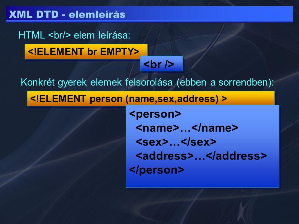 XML DTD - elemleírás HTML elem leírása: Konkrét gyerek elemek felsorolása (ebben a sorrendben): … …