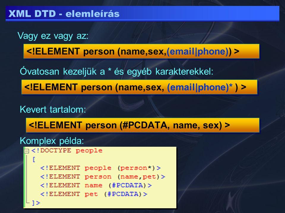 XML DTD - elemleírás Vagy ez vagy az: Óvatosan kezeljük a * és egyéb karakterekkel: Kevert tartalom: Komplex példa: