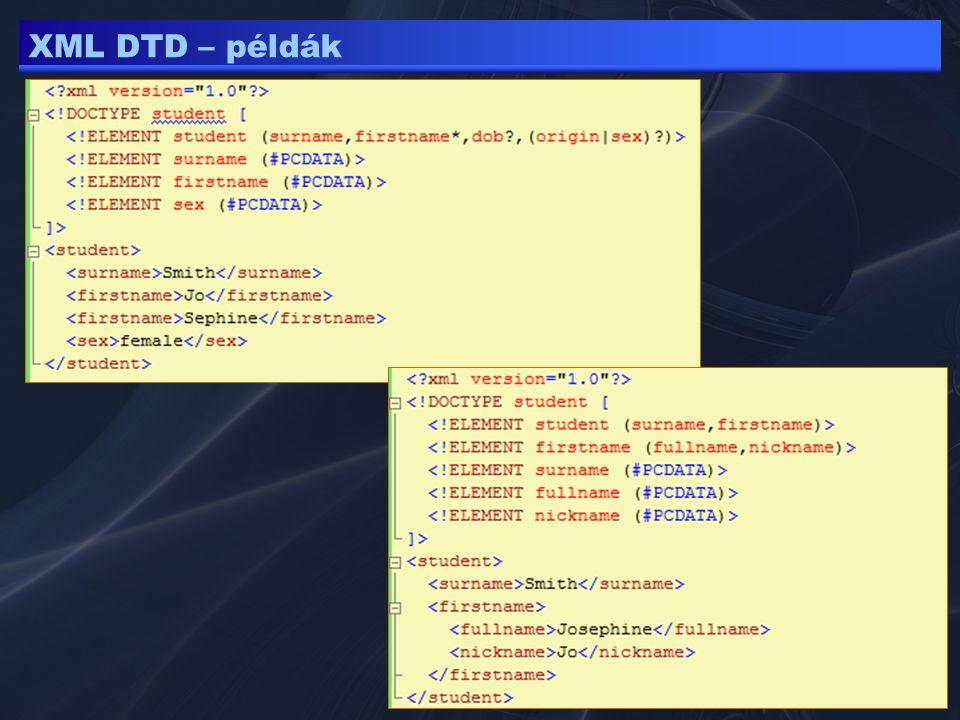 XML DTD – példák