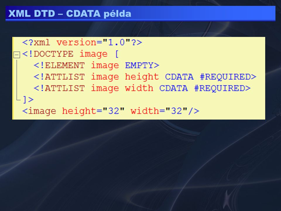 XML DTD – CDATA példa