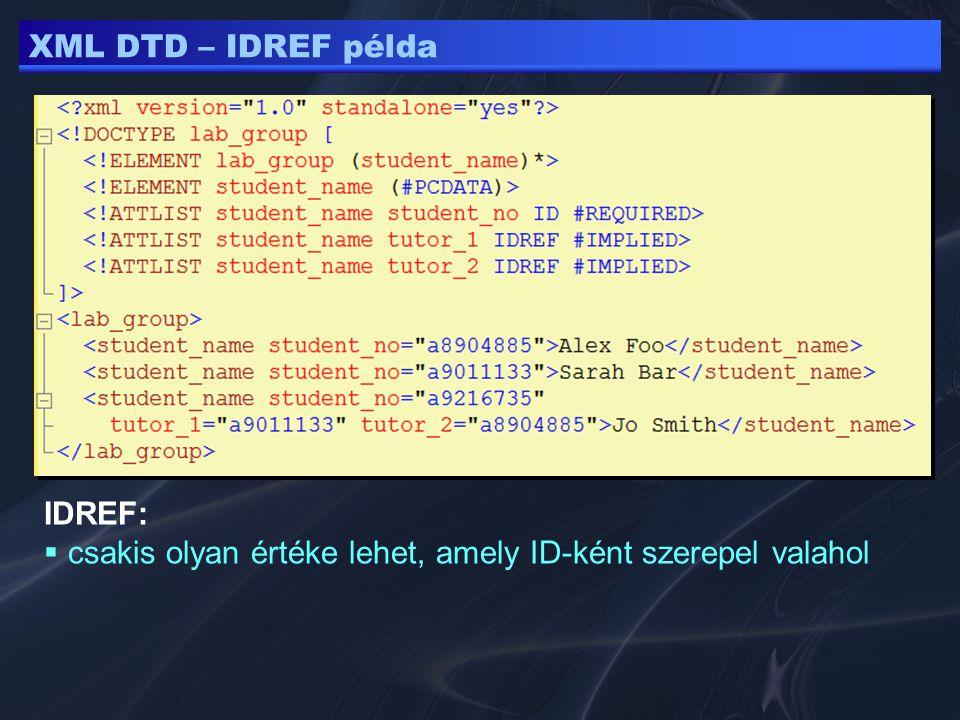 XML DTD – IDREF példa IDREF:  csakis olyan értéke lehet, amely ID-ként szerepel valahol