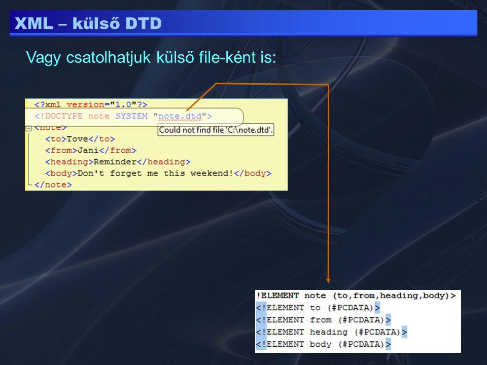 XML – külső DTD Vagy csatolhatjuk külső file-ként is: