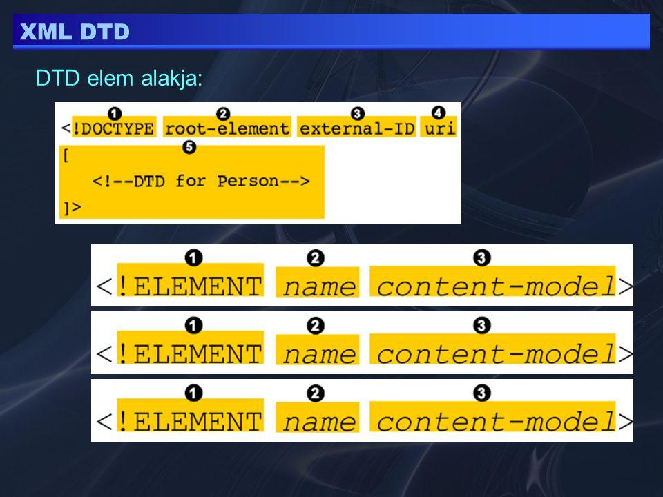 XML DTD DTD elem alakja: