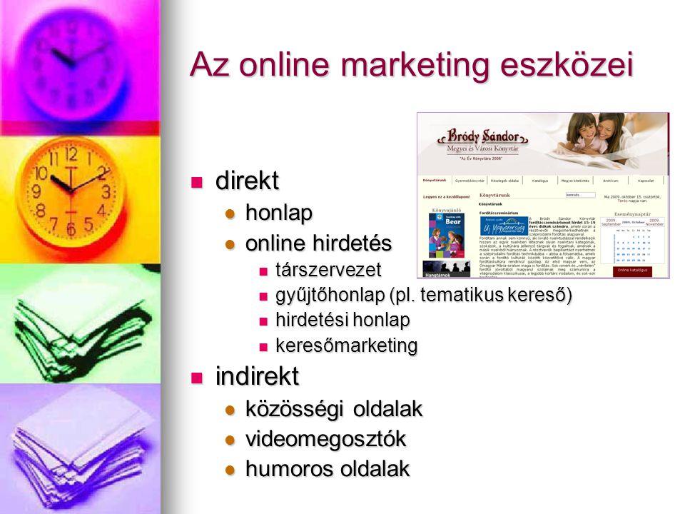 Az online marketing eszközei direkt direkt honlap honlap online hirdetés online hirdetés társzervezet társzervezet gyűjtőhonlap (pl. tematikus kereső)