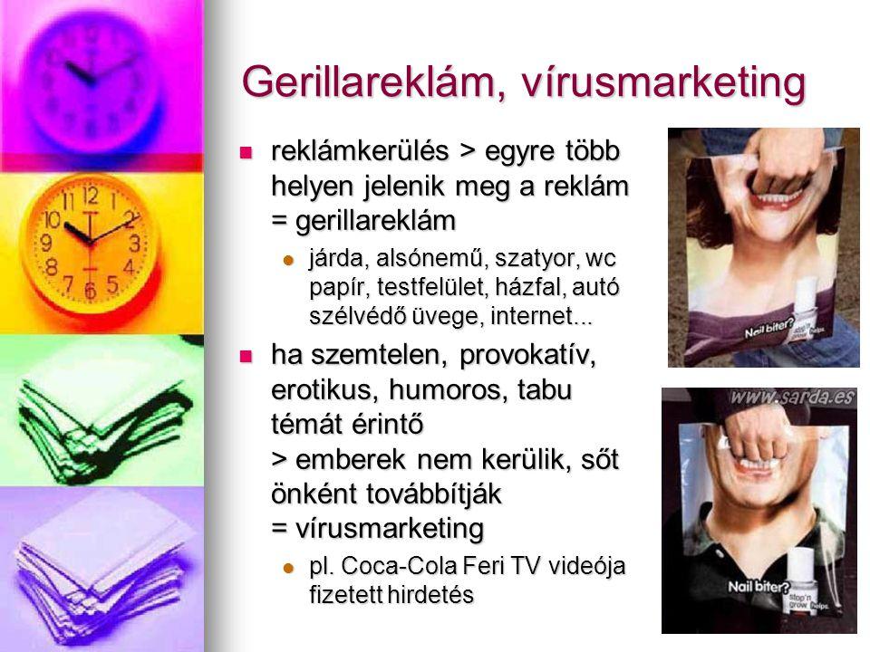 Gerillareklám, vírusmarketing reklámkerülés > egyre több helyen jelenik meg a reklám = gerillareklám reklámkerülés > egyre több helyen jelenik meg a r