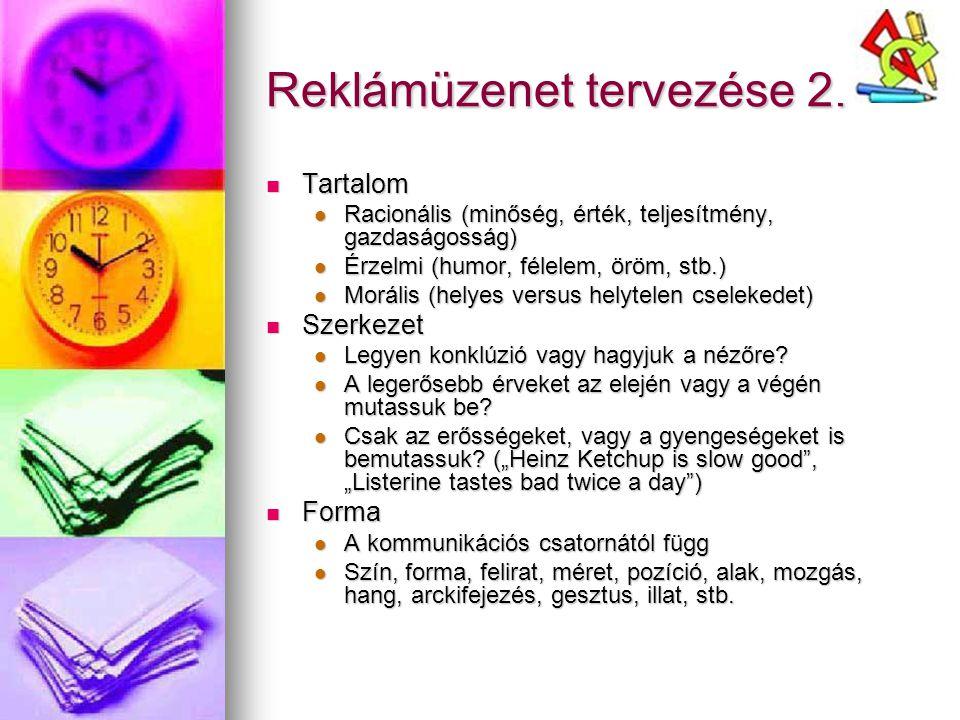 Reklámüzenet tervezése 2. Tartalom Tartalom Racionális (minőség, érték, teljesítmény, gazdaságosság) Racionális (minőség, érték, teljesítmény, gazdasá