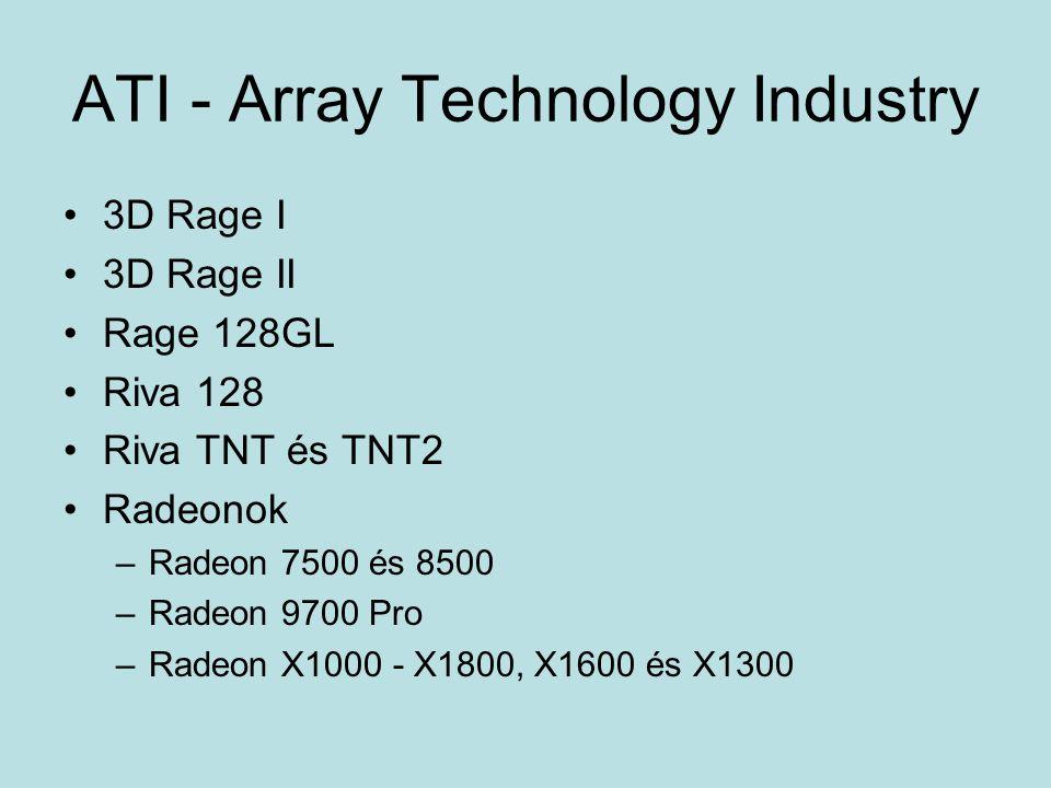 ATI - Array Technology Industry 3D Rage I 3D Rage II Rage 128GL Riva 128 Riva TNT és TNT2 Radeonok –Radeon 7500 és 8500 –Radeon 9700 Pro –Radeon X1000