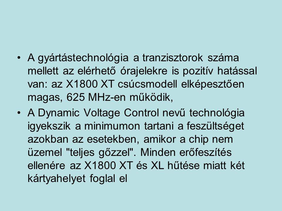 A gyártástechnológia a tranzisztorok száma mellett az elérhető órajelekre is pozitív hatással van: az X1800 XT csúcsmodell elképesztően magas, 625 MHz