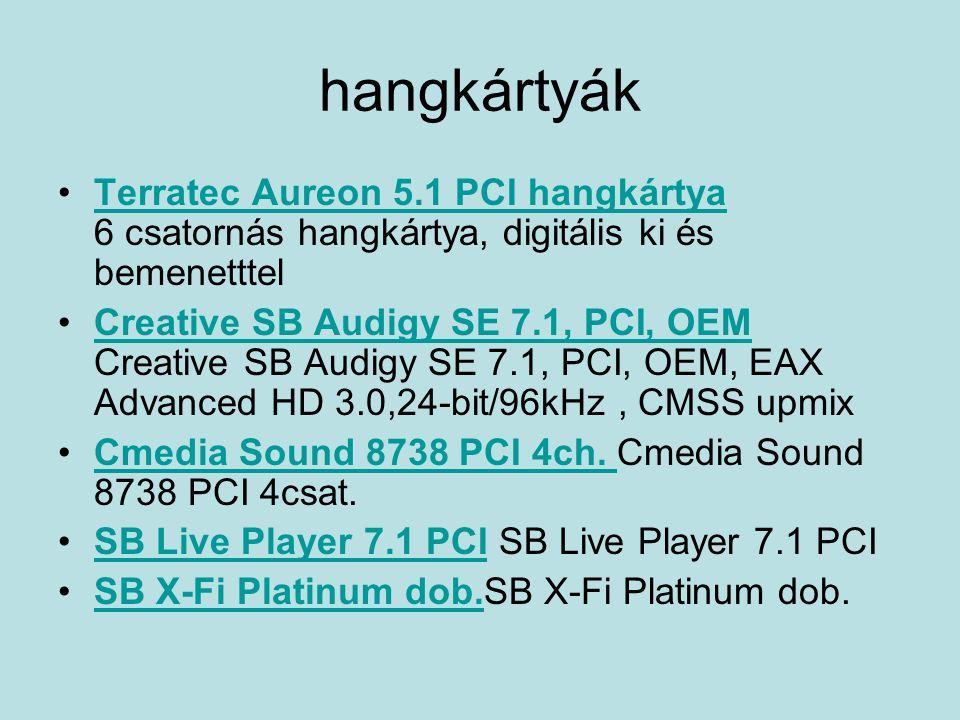hangkártyák Terratec Aureon 5.1 PCI hangkártya 6 csatornás hangkártya, digitális ki és bemenetttelTerratec Aureon 5.1 PCI hangkártya Creative SB Audig