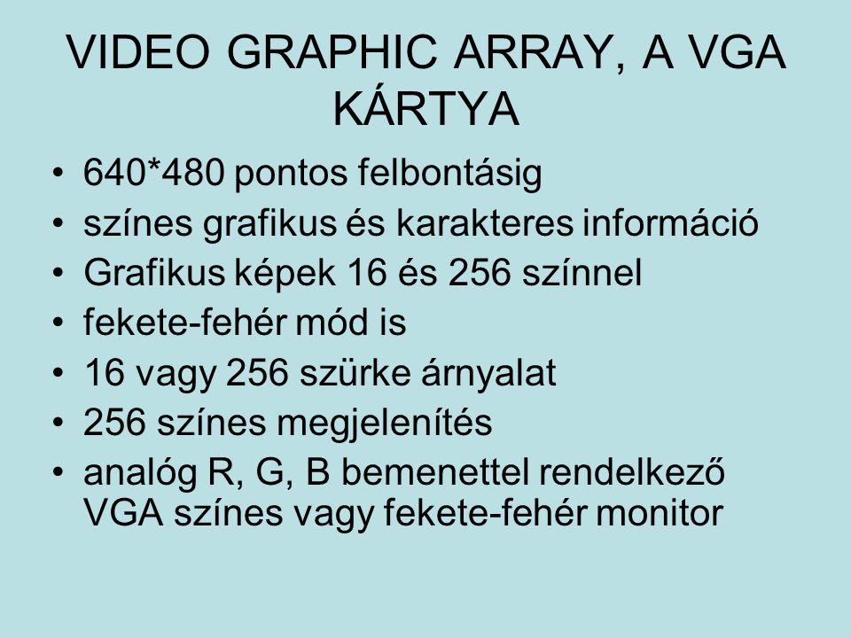 VIDEO GRAPHIC ARRAY, A VGA KÁRTYA 640*480 pontos felbontásig színes grafikus és karakteres információ Grafikus képek 16 és 256 színnel fekete-fehér mó