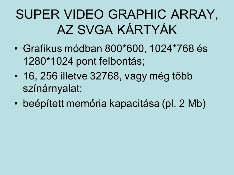 SUPER VIDEO GRAPHIC ARRAY, AZ SVGA KÁRTYÁK Grafikus módban 800*600, 1024*768 és 1280*1024 pont felbontás; 16, 256 illetve 32768, vagy még több színárn