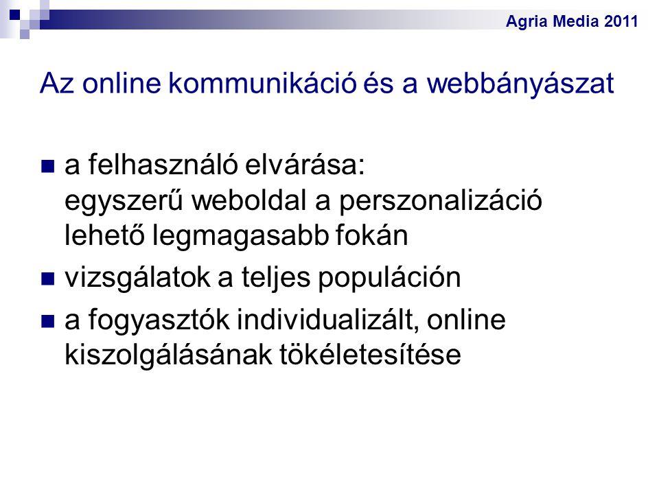 Agria Media 2011 Az online kommunikáció és a webbányászat a felhasználó elvárása: egyszerű weboldal a perszonalizáció lehető legmagasabb fokán vizsgál