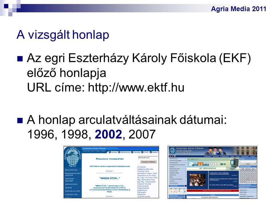 Agria Media 2011 A vizsgált honlap Az egri Eszterházy Károly Főiskola (EKF) előző honlapja URL címe: http://www.ektf.hu A honlap arculatváltásainak dá
