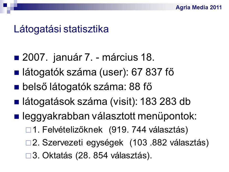Agria Media 2011 Látogatási statisztika 2007. január 7. - március 18. látogatók száma (user): 67 837 fő belső látogatók száma: 88 fő látogatások száma