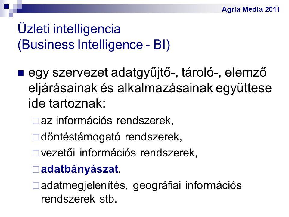 Agria Media 2011 Üzleti intelligencia (Business Intelligence - BI) egy szervezet adatgyűjtő-, tároló-, elemző eljárásainak és alkalmazásainak együttes