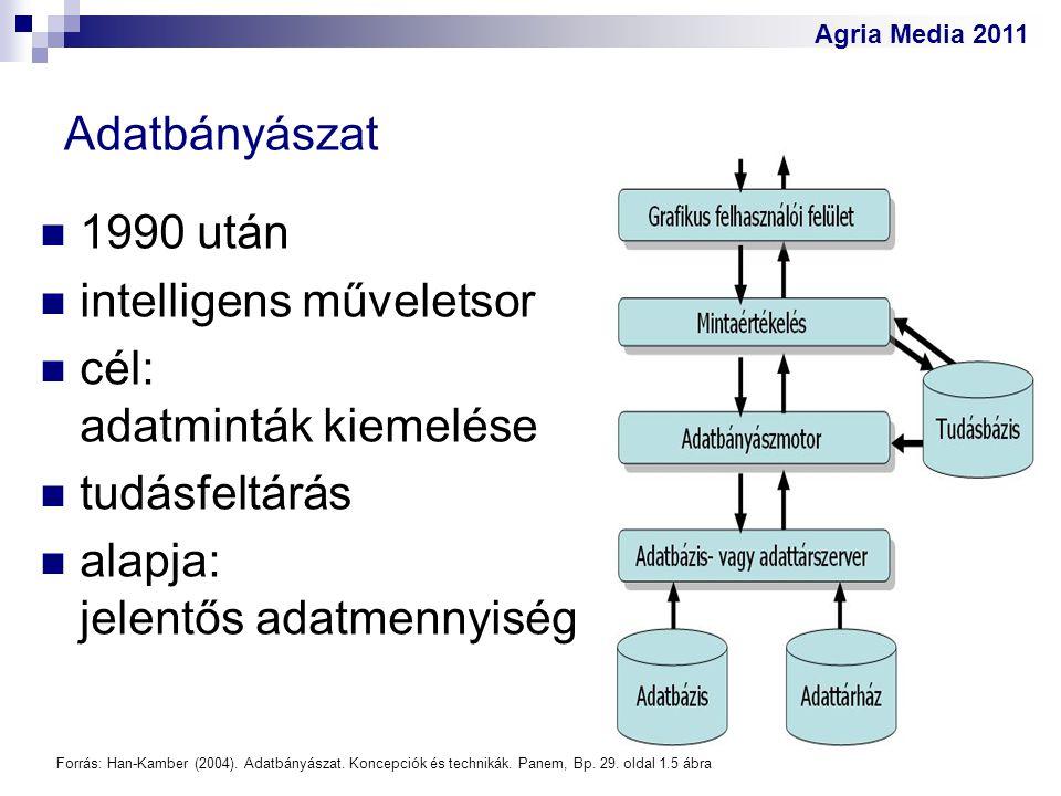 Agria Media 2011 Adatbányászat 1990 után intelligens műveletsor cél: adatminták kiemelése tudásfeltárás alapja: jelentős adatmennyiség Forrás: Han-Kam