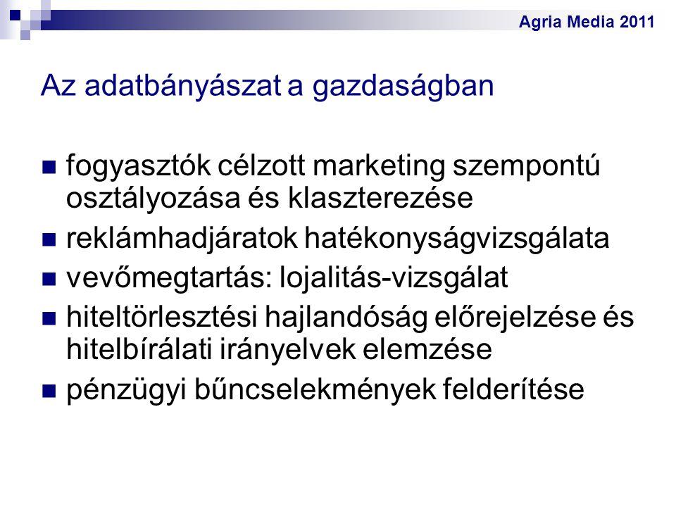Agria Media 2011 Az adatbányászat a gazdaságban fogyasztók célzott marketing szempontú osztályozása és klaszterezése reklámhadjáratok hatékonyságvizsg