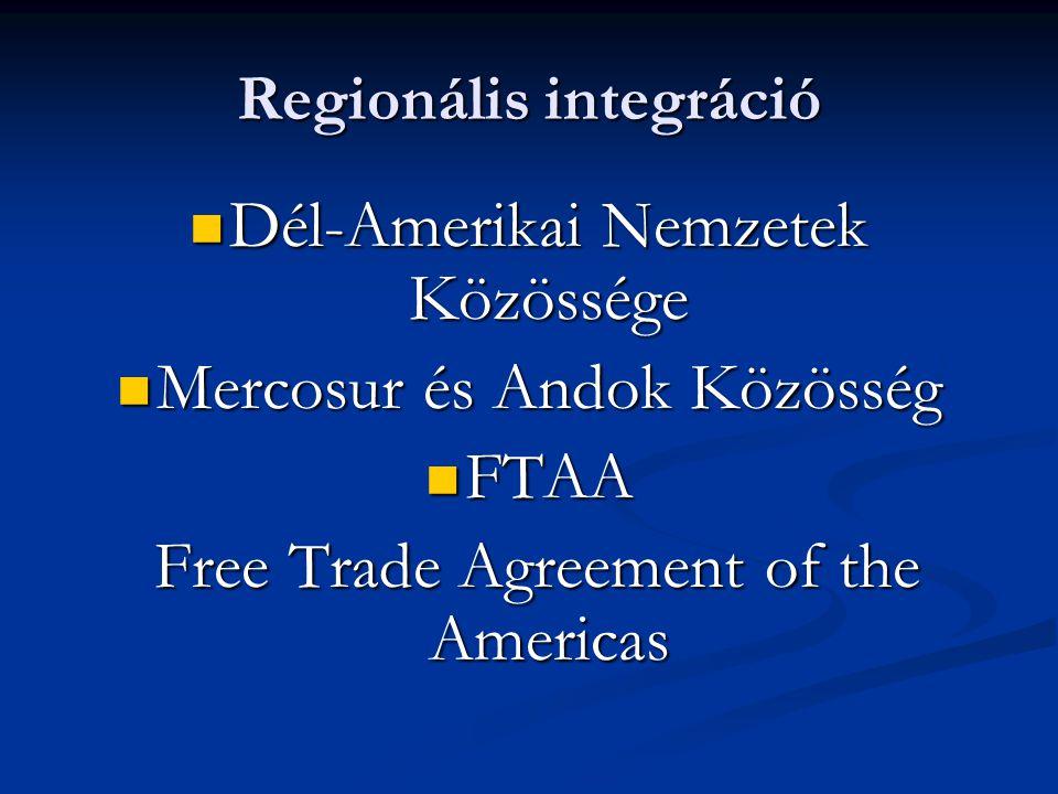 Regionális integráció Dél-Amerikai Nemzetek Közössége Dél-Amerikai Nemzetek Közössége Mercosur és Andok Közösség Mercosur és Andok Közösség FTAA FTAA Free Trade Agreement of the Americas Free Trade Agreement of the Americas