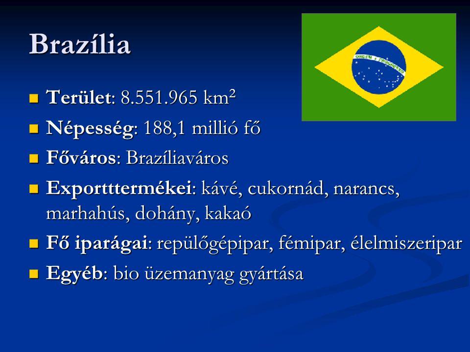 Brazília Terület: 8.551.965 km 2 Terület: 8.551.965 km 2 Népesség: 188,1 millió fő Népesség: 188,1 millió fő Főváros: Brazíliaváros Főváros: Brazíliaváros Exportttermékei: kávé, cukornád, narancs, marhahús, dohány, kakaó Exportttermékei: kávé, cukornád, narancs, marhahús, dohány, kakaó Fő iparágai: repülőgépipar, fémipar, élelmiszeripar Fő iparágai: repülőgépipar, fémipar, élelmiszeripar Egyéb: bio üzemanyag gyártása Egyéb: bio üzemanyag gyártása