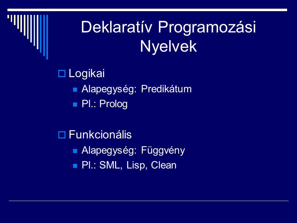 Deklaratív Programozási Nyelvek  Logikai Alapegység: Predikátum Pl.: Prolog  Funkcionális Alapegység: Függvény Pl.: SML, Lisp, Clean