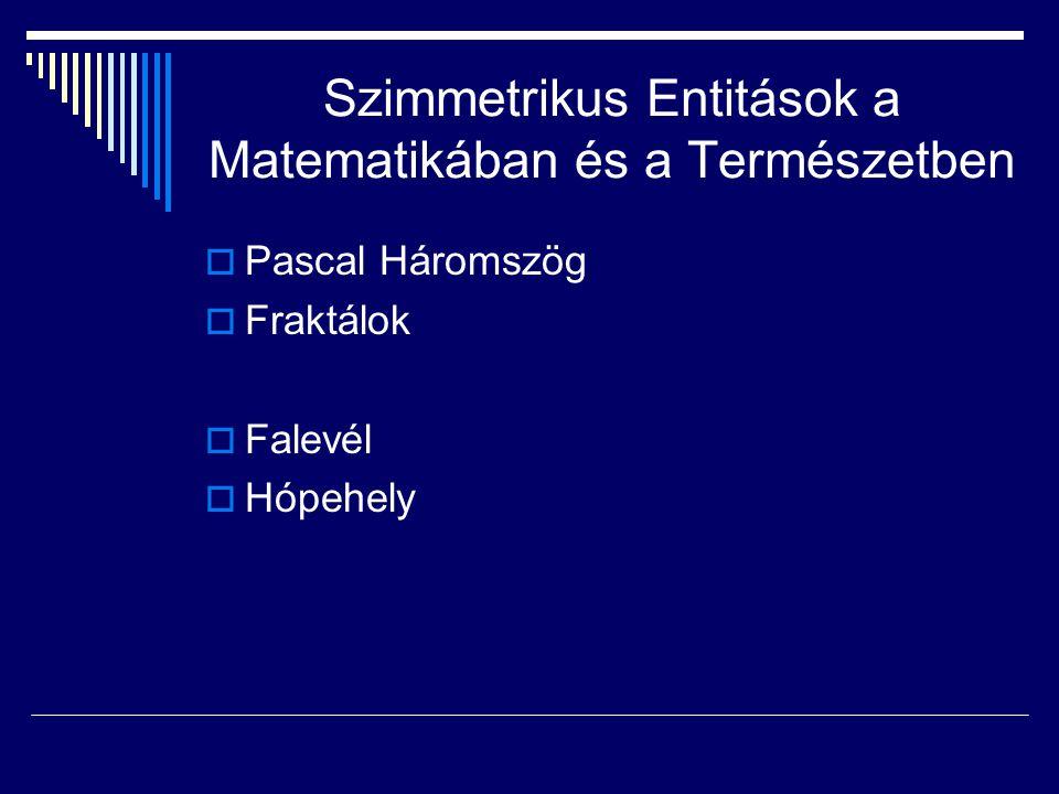 Szimmetrikus Entitások a Matematikában és a Természetben  Pascal Háromszög  Fraktálok  Falevél  Hópehely