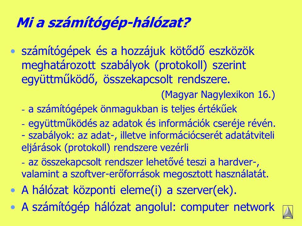 A számítógép-hálózatok elmélete Mi a számítógép-hálózat.