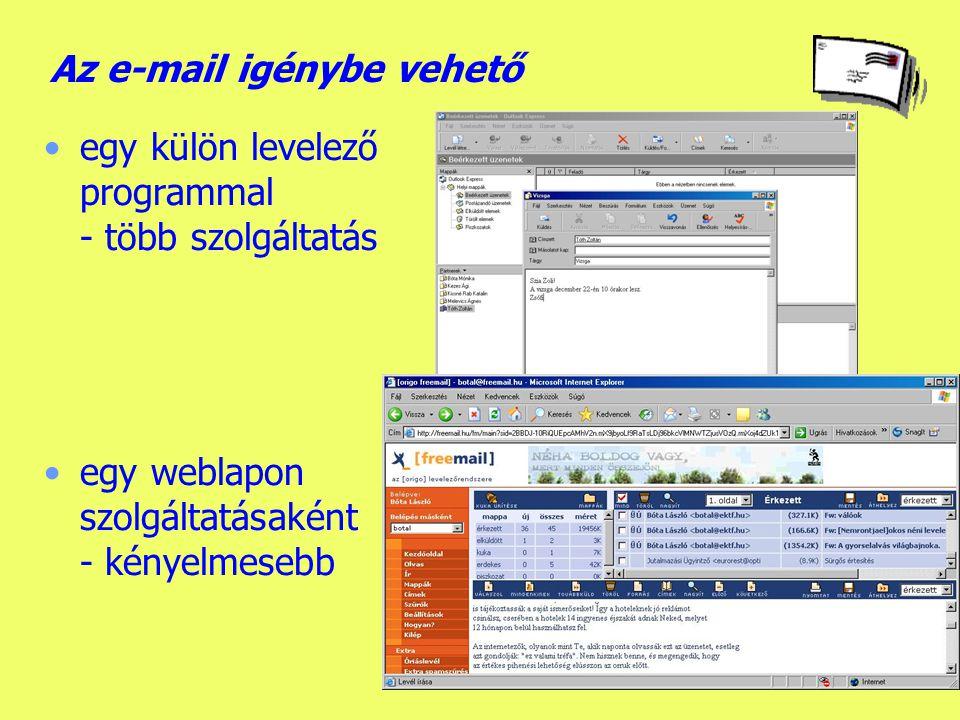 Elektronikus levelezés (e-mail) Az internet szolgáltatásai