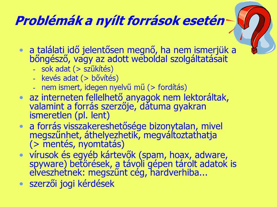 Készítette: B.László Könyvtárak az interneten 2.