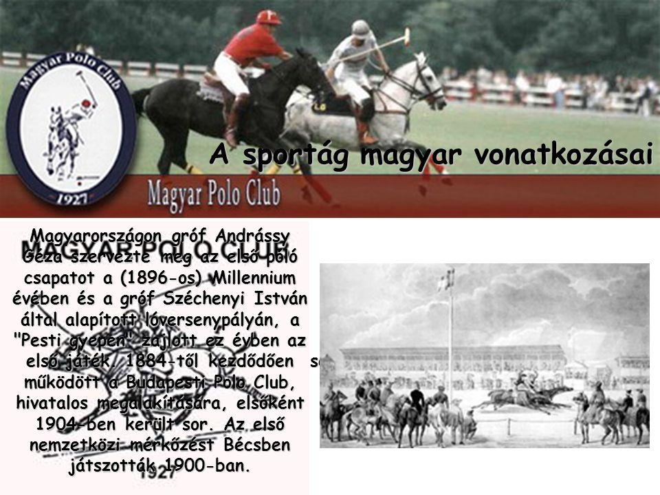 A sportág magyar vonatkozásai Magyarországon gróf Andrássy Géza szervezte meg az első póló csapatot a (1896-os) Millennium évében és a gróf Széchenyi István által alapított lóversenypályán, a Pesti gyepen zajlott ez évben az első játék.