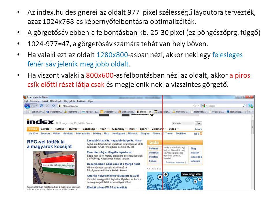 Az index.hu designerei az oldalt 977 pixel szélességű layoutora tervezték, azaz 1024x768-as képernyőfelbontásra optimalizálták. A görgetősáv ebben a f